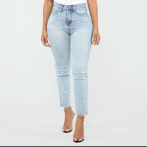 Fashion Nova Burning Love Light Wash Jean